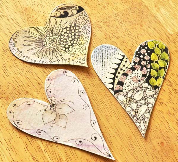zentangles on hearts