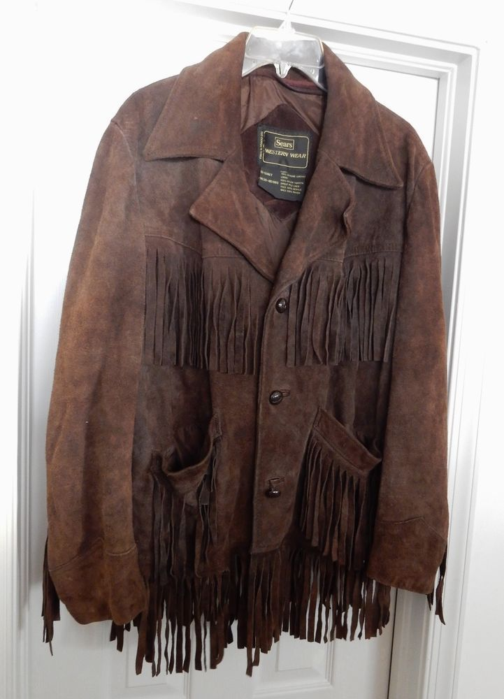 0b091eaf8f36 Vintage SEARS WESTERN WEAR Men s Suede Leather Jacket Coat Fringe Brown  Size 38  SearsWesternWear  BasicJacket