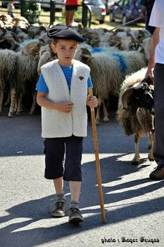 Young sheepherder in Pyrenees Mountains, which forms a natural border between France and Spain