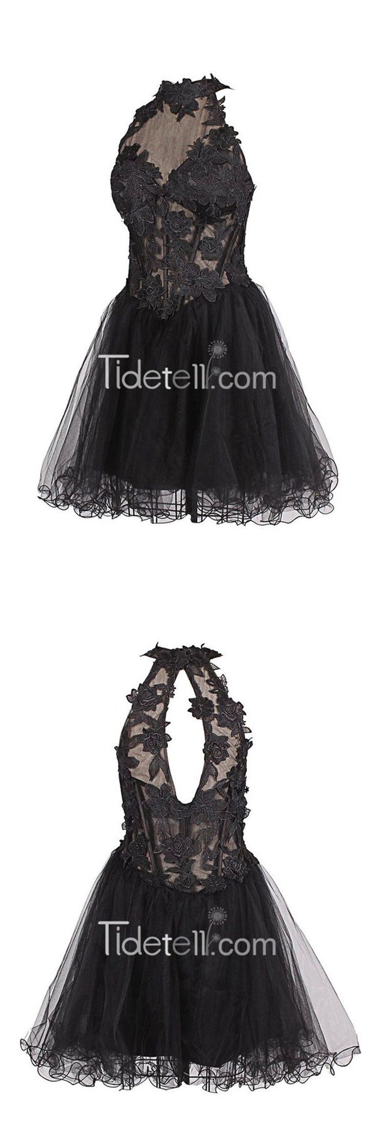 homecoming dress,black homecoming dress,tulle homecoming dress,halter homecoming dress,homecoming dress with appliques,prom dress,short prom dress,modest prom dress,sexy homecoming dress,cheap homecoming dress