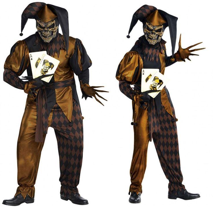 fancydressvip - Mens Scary Jester Jokers Wild Clown Fancy Dress Costume, £25.99 (http://www.fancydressvip.com/mens/historical-eras/medieval/mens-scary-jester-jokers-wild-clown-fancy-dress-costume/)