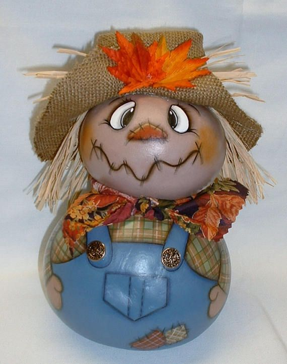 Gourd Scarecrow  Hand Painted Gourds