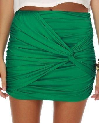 Kelly Green Mini Skirt #skirt rbaudhuin