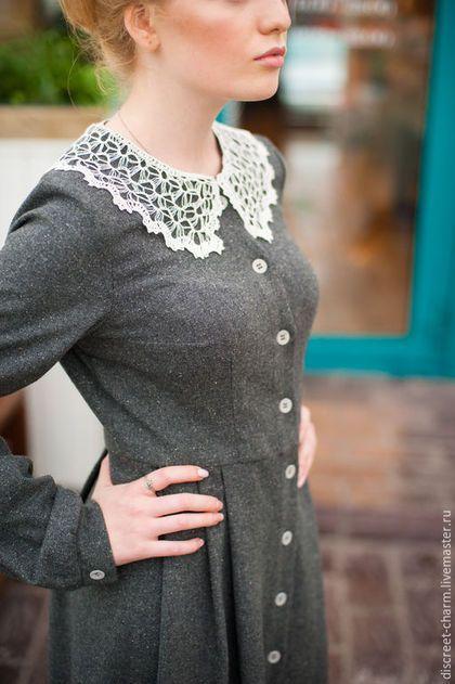 Wool winter dress withlace collar / Платья ручной работы. Ярмарка Мастеров - ручная работа. Купить Серое шерстяное зимнее теплое платье с пышной юбкой в складку. Handmade.