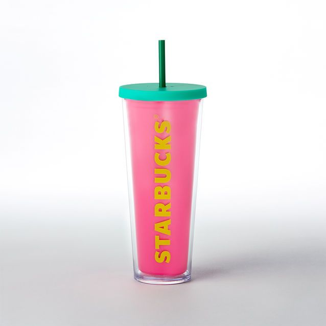 "An acrylic Cold Cup tumbler in a hot shade of pink with ""Starbucks"" in giant yellow letters."