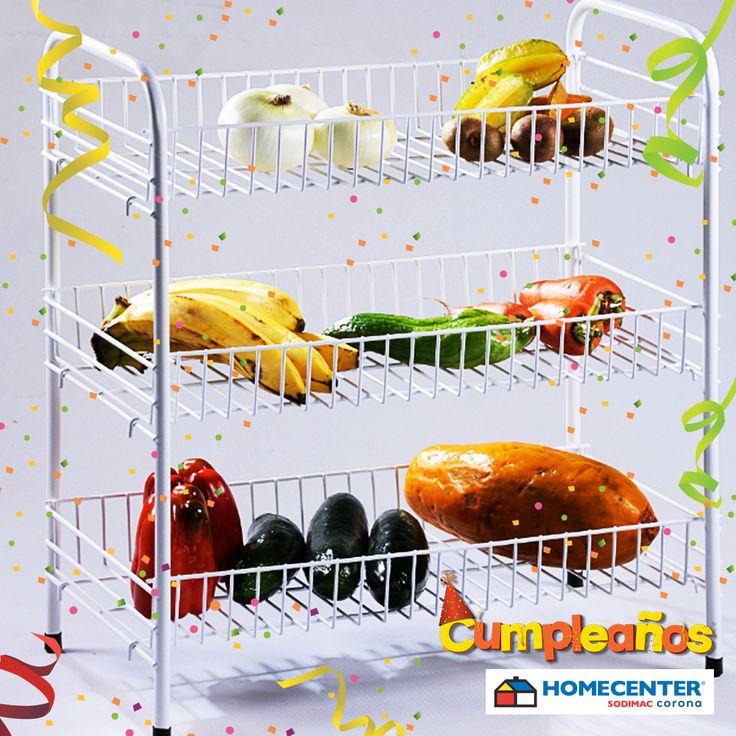 Mantén en orden todas tus frutas y verduras en esta practico organizador #CumpleañosHomecenter.