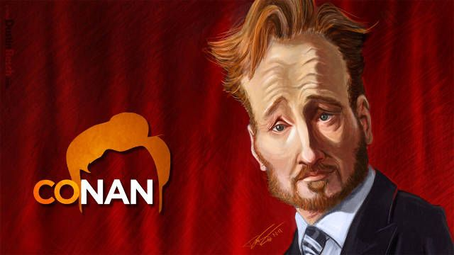 Conan O'Brien - The Portrait That Wouldn't Die - Initially created for an open call for fan art for Conan's TBS show on 1/1/11.  It made it on the air (as a bumper back from commercial) on 5/17/11.  Then things got strange.  Conan was doing a week of shows in NYC around Halloween, and as part of it, they did a big NYCOCOMOCA exhibit at the Time Warner center.  Out of 2000 fan art submissions, they picked 50 to show at the exhibit, and asked me to be one of them.  Then, they asked me if they…
