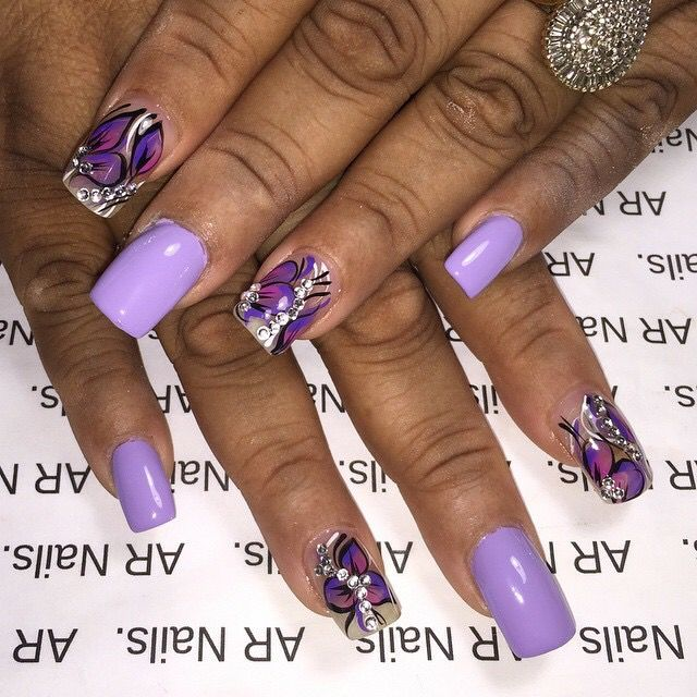 Purple nailart - 131 Best Nails Design With Rhinestones Images On Pinterest Gems
