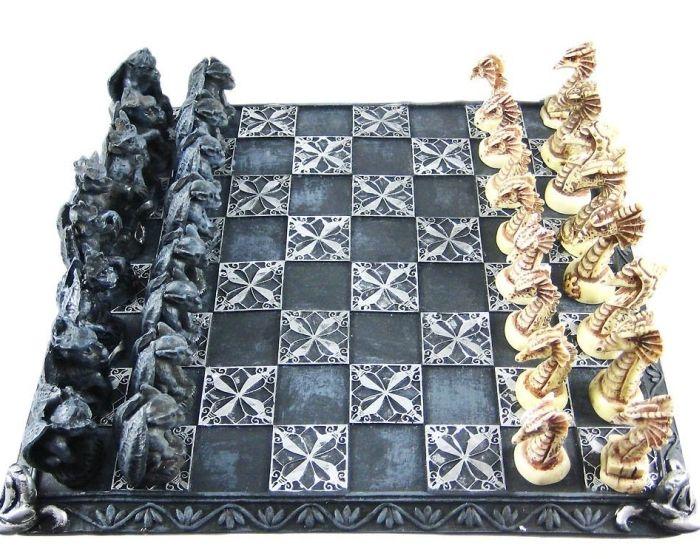 Dragon And Gargoyle Chess Set