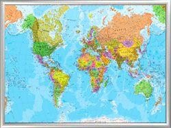 Παγκόσμιος χάρτης με κορνίζα αλουμινίου μέγεθος 70Χ100. Τιμή 60 ευρώ http://www.printcenter.com.gr/idees-diakosmisi-hartes.html
