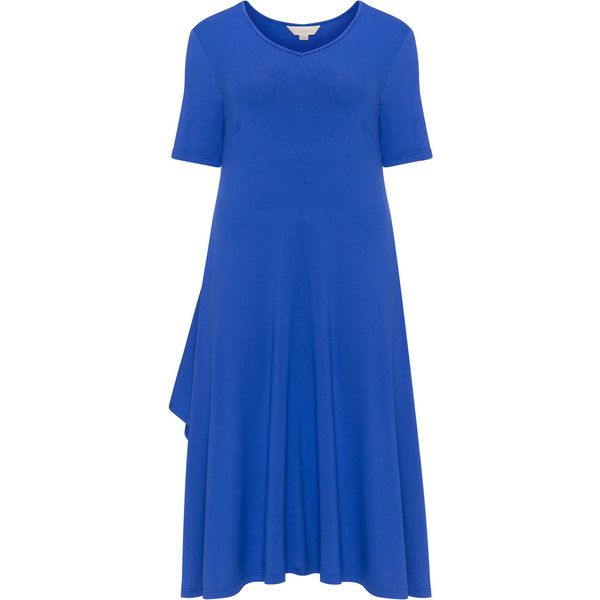 Isolde Roth Blue Plus Size Side slit handkerchief hem dress ($125) ❤ liked on Polyvore featuring dresses, blue, plus size, short-sleeve dresses, plus size short sleeve dresses, women plus size dresses, womens plus dresses and flare dresses
