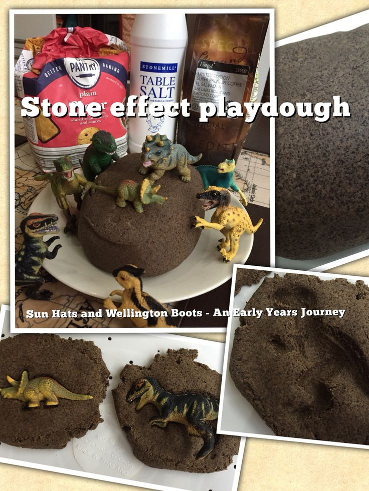 No cook stone effect play dough. Equal parts ground coffee and plain flour, half the amount of salt, mix with enough water to make the dough. Dinosaur fossils next week!