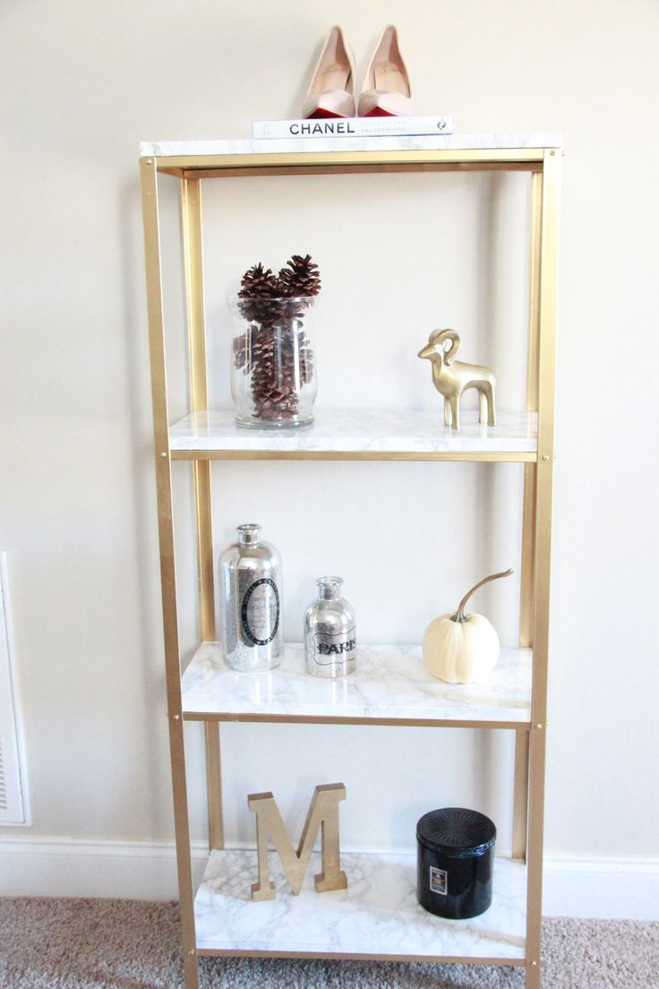 Best 25 gold shelves ideas on pinterest beauty room for Furniture of america nara contemporary 6 shelf tiered open bookcase