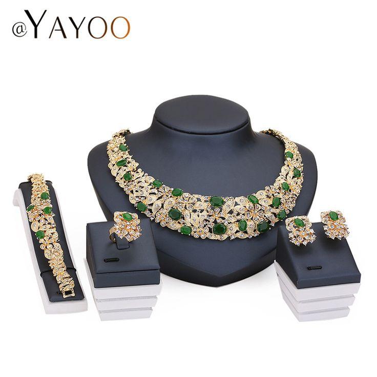 Ayayoo afrikaanse kralen sieraden sets voor vrouwen imitatie crystal ketting oorbellen goud kleur hanger trouwjurk accessoires