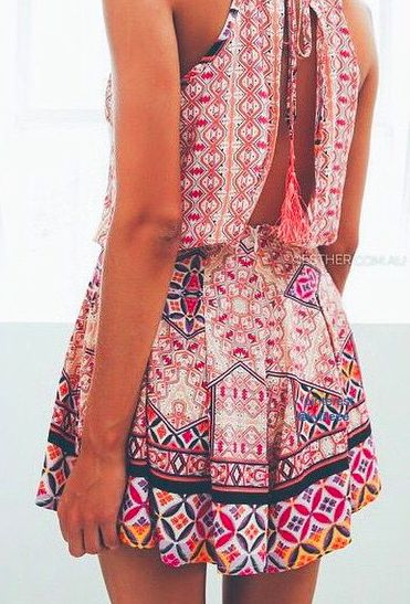 Boho chic gypsy style romper with modern hippie tassel embellishments. FOLLOW> https://www.pinterest.com/happygolicky/the-best-boho-chic-fashion-bohemian-jewelry-gypsy-/< for the BEST 2015 Bohemian fashion trends.