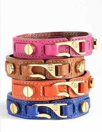 Tory Burch 'Hook' Leather Wrap Bracelet - I want the blue one!
