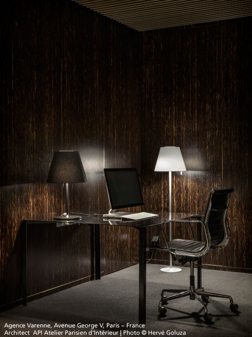 The #Melampo floor and table lamps in this very chic office ! #design Studio Adrien Gardère