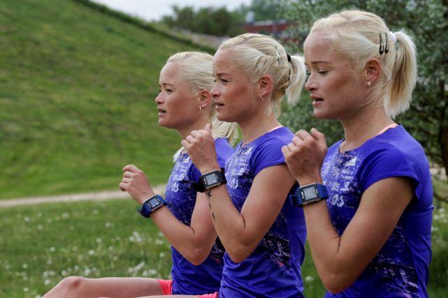 27 mai 2016 - Des triplées estoniennes - Lily, Liina et Leila - vont courir (marathon) pour l'or à Rio