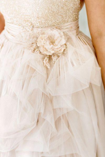 Pink wedding dress with flower details