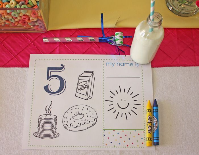 "FREE printable ""birthday breakfast"" placemat (choose from ages 1-6)"