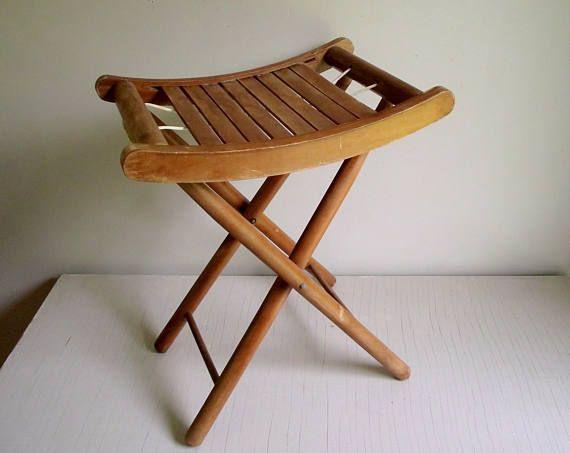 Folding Wood Stool Vintage Nevco Stool Slat Wood