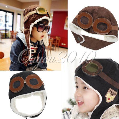 Brown/Black Cool Baby Toddler Boy Girl Kids Pilot Aviator Warm Cap Hat Beanie
