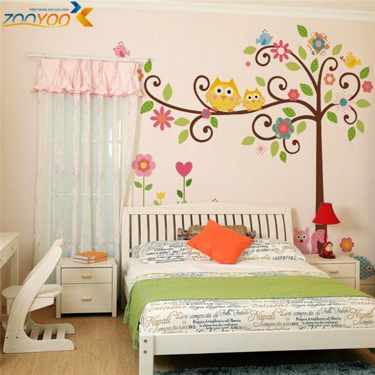 совы настенные наклейки для детской комнаты декор дома zooyoo1001s мультфильм стикер животное художественной росписи дерева adesivo де parede поделки pegatinas