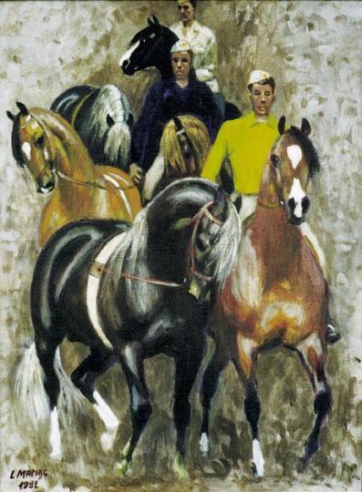 Ludwik Antoni Maciąg (1920-2007), malarz polski 'W stadzie ogierów', 1981