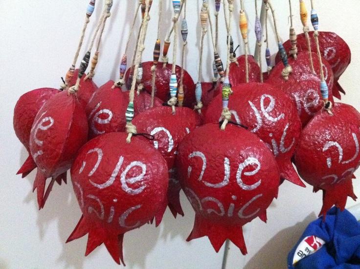 rimonim....pomegranate mobiles with bells for rosh ha'shana.. its a secret material..