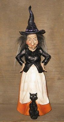 WITCH Figurine STATUE w/ Black CAT/Hat*Halloween Primitive Fall Decor-Whimsy