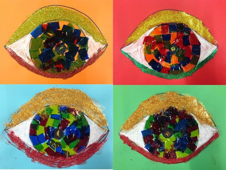 #OBRE EL ULLS - Material: cartolina, pintura, cola, paper transparent. purpurina - Nivell: Infantil P5 2014-15