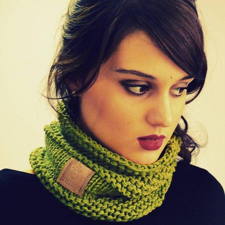 green neck warmer (cotton,merino)