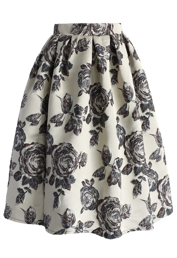 retro midi skirt - floral black/white