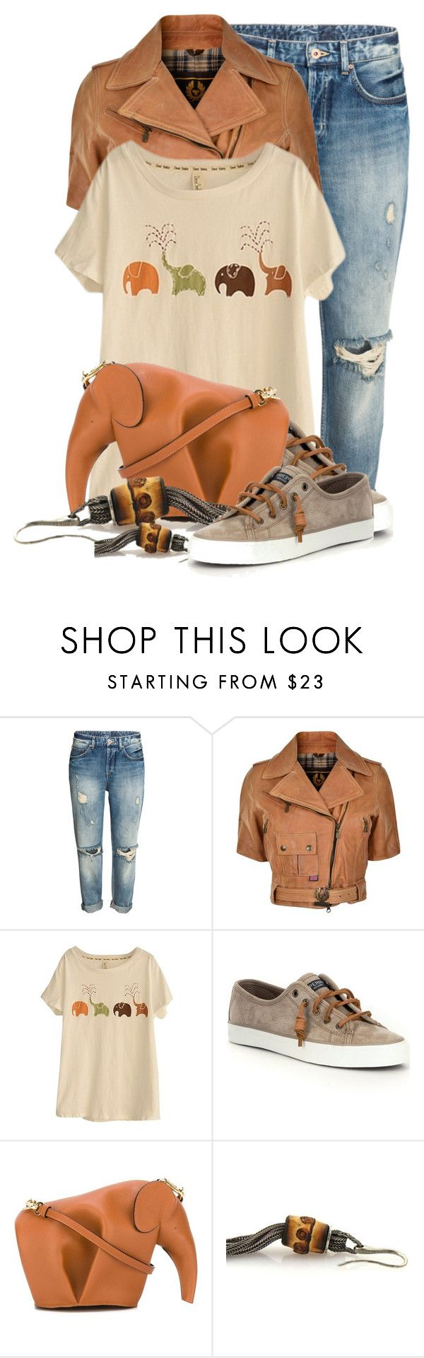 """""""Fun With Elephants"""" by queenrachietemplateaddict ❤ liked on Polyvore featuring Belstaff, WithChic, Sperry, Loewe, Gucci, leatherjacket, sneakers, Tshirt and Elephants"""