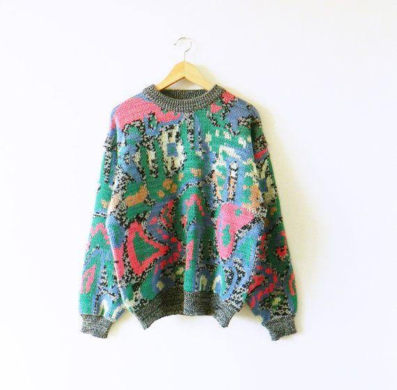 Locos años 80 Resumen suéter / Rad Animal impresión suéter arte abstracto / Vintage gran tamaño suéter