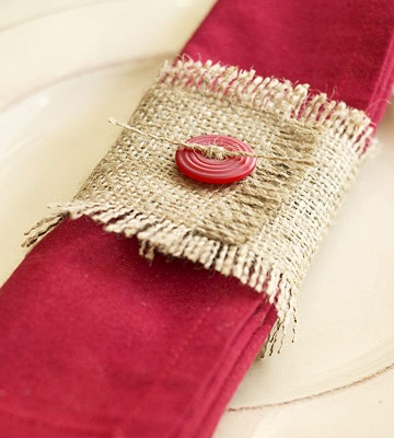 button and burlap napkin ring
