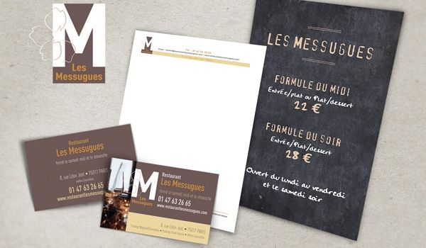 Restaurant Branding Design - Paris http://www.restaurantlesmessugues.com/ #design #restaurant