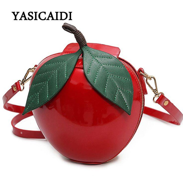 여성 크로스 바디 가방 유명 브랜드 레드 원형 apple 가방 패션 여성 메신저 가방 잎 미니 가방 십대 소녀
