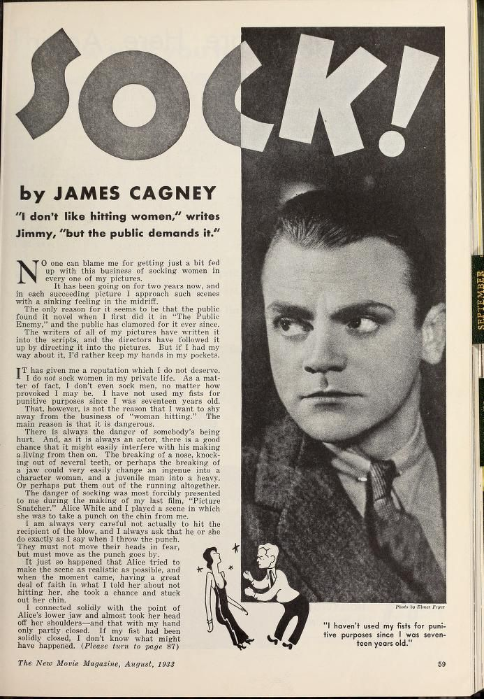 "A very young James Cagney  from a vintage Hollywood magazine, ""The New Movie Magazine (Jul-Dec 1933)."""