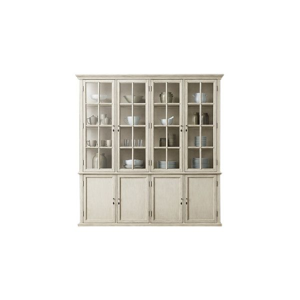 HAMPTON CASEMENT 4-DOOR PANEL SIDEBOARD & GLASS HUTCH, Distressed... ❤ liked on Polyvore featuring home, furniture, storage & shelves, sideboards, distressed sideboards, white hutch, distressed furniture, door furniture and white furniture