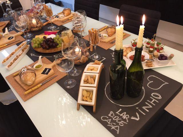"""Queijos e Vinhos      Que tal uma mesa de inverno bem criativa para você receber os amigos em casa? Bem no estilo DIY (do it yourself), """"fa..."""