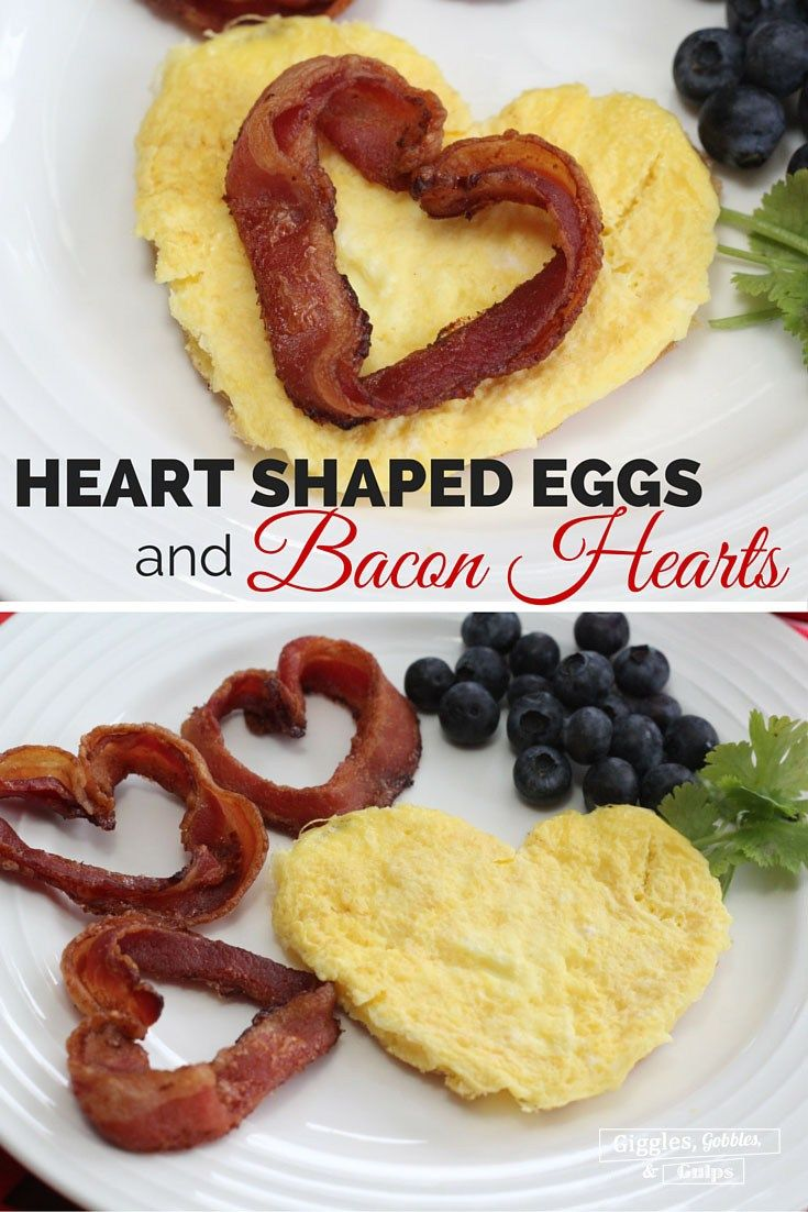 Heart Shaped Eggs with Bacon Hearts are the perfect Valentine's Day breakfast. Surprise your little one with these heart shaped foods. http://gigglesgobblesandgulps.com/heart-shaped-eggs-with-bacon-hearts/