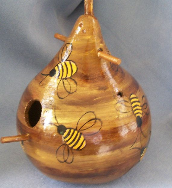 Bee Hive Art Gourd Bird House by HouseOfGourds on Etsy