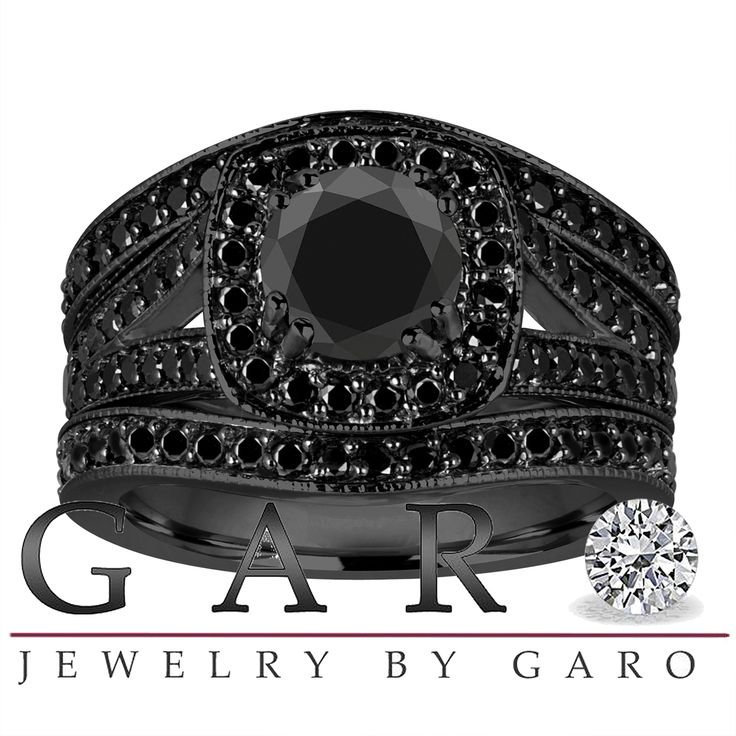 unique wedding ring sets fancy black diamonds engagement ring and two wedding 8191