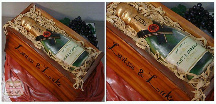 Moet Chandon champagne birthday cake crate