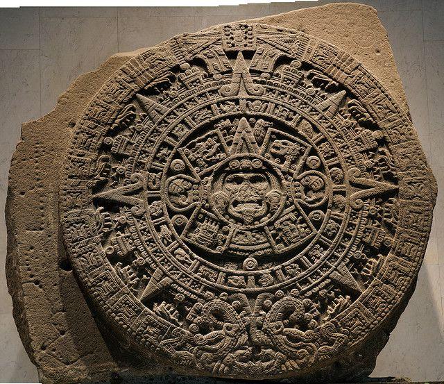 Famous Aztec calendar stone: Mexico City, Mexico: Museo Nacional de Antropología