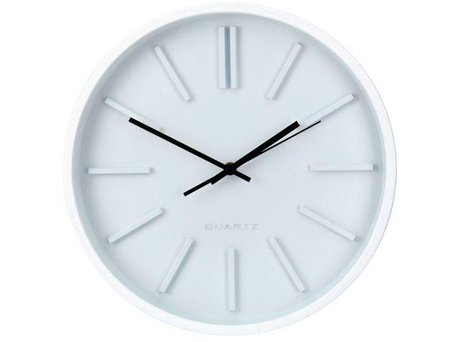 Okrągły zegar ścienny, wskazówkowy, Ø 35 cm.  Okrągły zegar ścienny wyposażony we wskazówki do odmierzania godzin i minut oraz sekundnik. Z pewnością świetnie wpasuje się do każdego pomieszczenia - pokoju gościnnego, biura, kuchni lub sypialni. Wygodne i proste w użyciu pokrętło pozwoli w łatwy sposób nastawić aktualny czas. Atrakcyjny, nowoczesny design. :)