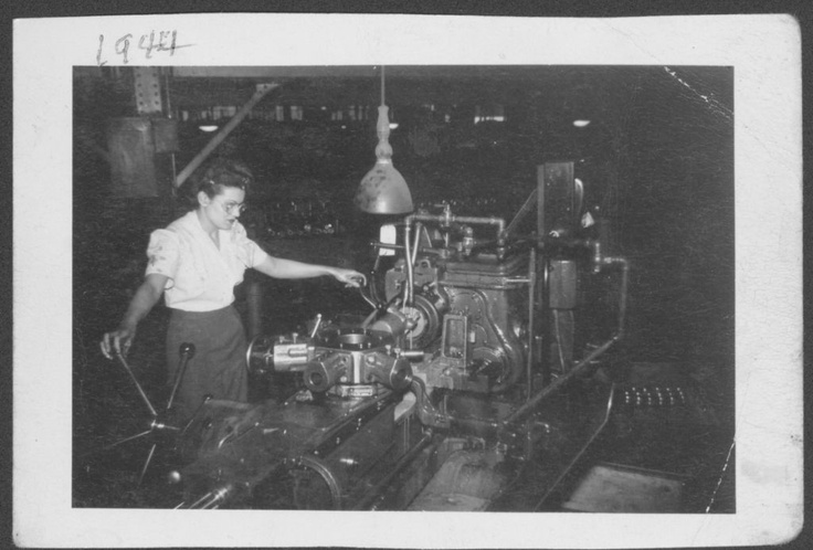 """""""Nikki Jade, running a ram type gun turret lathe at (Gishold Automatic) American Chain and Cable Co."""" 1944  (RORI 831)"""