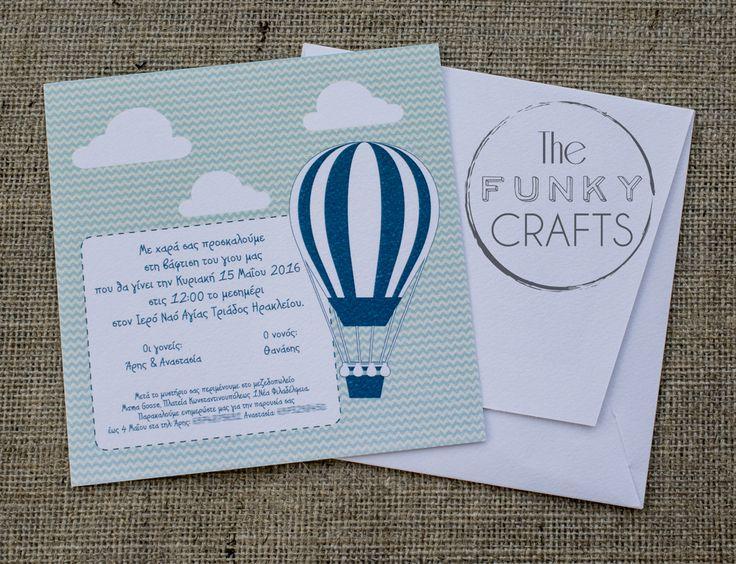 invitation, baptism, air balloon