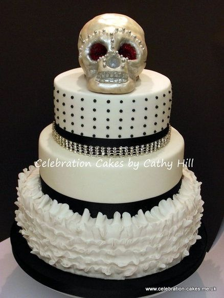 Skull Wedding Cake  Cake by Cathy Hill... Maybe not so much on the skull tho...